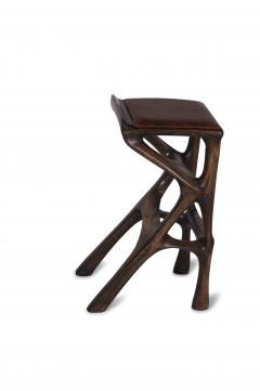 Amorph Modern Barstool Solid Wood with Leather and Stained Rusted Walnut - 588915