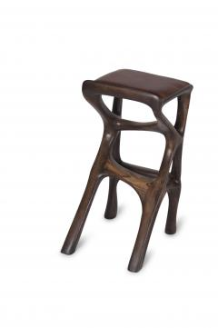 Amorph Modern Barstool Solid Wood with Leather and Stained Rusted Walnut - 588916