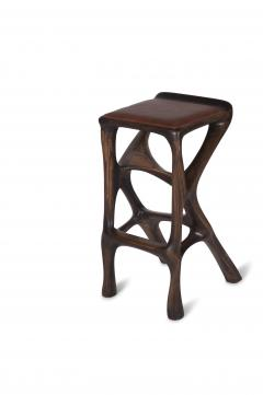 Amorph Modern Barstool Solid Wood with Leather and Stained Rusted Walnut - 588917