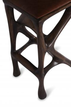 Amorph Modern Barstool Solid Wood with Leather and Stained Rusted Walnut - 588919