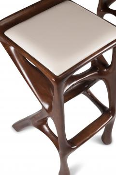 Amorph Modern Barstool Solid Wood with White Leather and Stained Walnut - 684403
