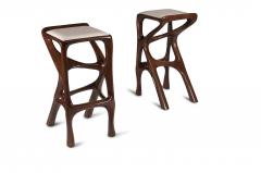 Amorph Modern Barstool Solid Wood with White Leather and Stained Walnut - 684405