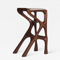 Amorph Modern Barstool Solid Wood with White Leather and Stained Walnut - 684443