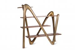 Amorph Modern Bookcase with Walnut Shelves and Gold Structure - 669997