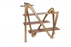 Amorph Modern Bookcase with Walnut Shelves and Gold Structure - 669998