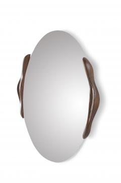 Amorph Oval Shaped Mirror with Ash Wood Frame Stained Rusted Walnut - 618397