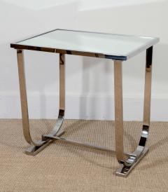Appel Modern Art Deco Style chrome and mirrored topped occasional table - 1466635