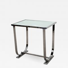 Appel Modern Art Deco Style chrome and mirrored topped occasional table - 1466716