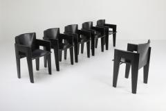 Arco Black Oak and Leather Arco Dining Chairs 1980s - 1226143