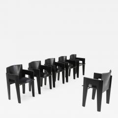 Arco Black Oak and Leather Arco Dining Chairs 1980s - 1226687