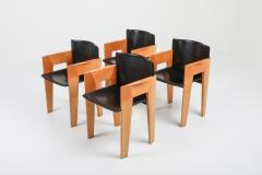 Arco Post modern Sculptural Leather Wood Chairs By Arco 1980s - 1248817