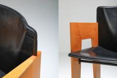 Arco Post modern Sculptural Leather Wood Chairs By Arco 1980s - 1248826