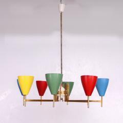 Arredoluce Festive Italian Multi Colored Modernist Chandelier Arredoluce 1950s - 1698110