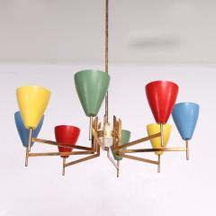 Arredoluce Festive Italian Multi Colored Modernist Chandelier Arredoluce 1950s - 1698112