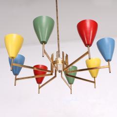 Arredoluce Festive Italian Multi Colored Modernist Chandelier Arredoluce 1950s - 1698113