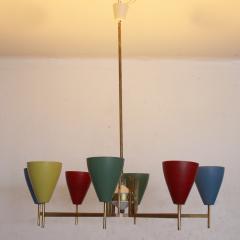 Arredoluce Festive Italian Multi Colored Modernist Chandelier Arredoluce 1950s - 1698114