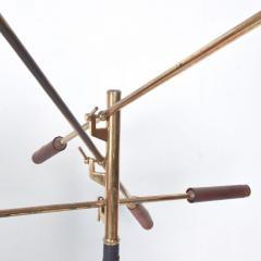Arredoluce Mid Century Modern Early Triennale Floor Lamp Brass Brown Leather ITALY - 1434787