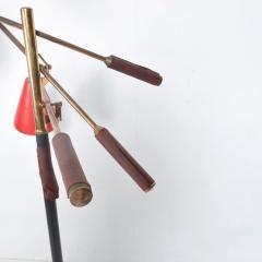 Arredoluce Mid Century Modern Early Triennale Floor Lamp Brass Brown Leather ITALY - 1434791