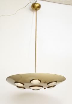 Arredoluce Suspension light in cream enameled with brass trimmed lenses - 1148091