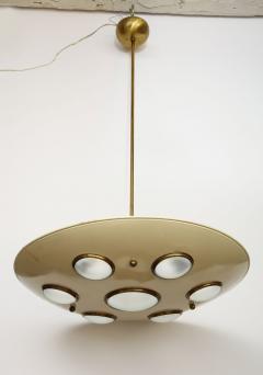 Arredoluce Suspension light in cream enameled with brass trimmed lenses - 1148092