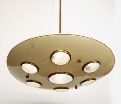 Arredoluce Suspension light in cream enameled with brass trimmed lenses - 1148095