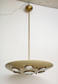 Arredoluce Suspension light in cream enameled with brass trimmed lenses - 1148101