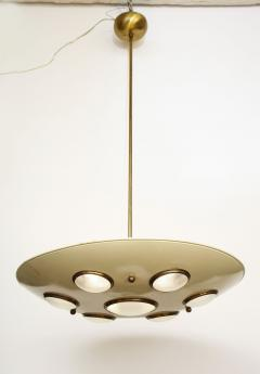 Arredoluce Suspension light in cream enameled with brass trimmed lenses - 1148102