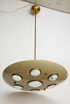 Arredoluce Suspension light in cream enameled with brass trimmed lenses - 1148103