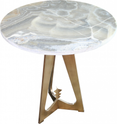 Arriau Pedestal in Brass and Top in Onyx Model Cupidon by Arriau - 615570