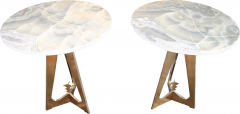 Arriau Pedestal in Brass and Top in Onyx Model Cupidon by Arriau - 615571