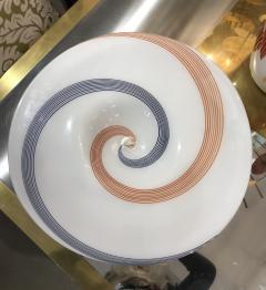 Arte Vetraria Muranese A V E M A Ve M AVeM 1960s Italian White Murano Glass Extra Large Platter with Orange Blue Murrine - 1116993
