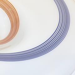 Arte Vetraria Muranese A V E M A Ve M AVeM 1960s Italian White Murano Glass Extra Large Platter with Orange Blue Murrine - 1116994