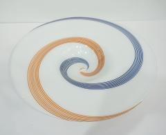 Arte Vetraria Muranese A V E M A Ve M AVeM 1960s Italian White Murano Glass Extra Large Platter with Orange Blue Murrine - 1116997