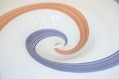 Arte Vetraria Muranese A V E M A Ve M AVeM 1960s Italian White Murano Glass Extra Large Platter with Orange Blue Murrine - 1116999