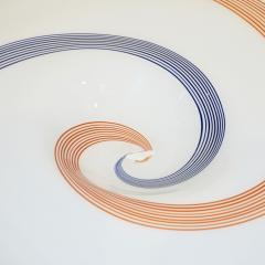 Arte Vetraria Muranese A V E M A Ve M AVeM 1960s Italian White Murano Glass Extra Large Platter with Orange Blue Murrine - 1117001