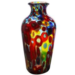 Arte Vetraria Muranese A V E M A Ve M AVeM Handblown Glass Vase with Gold Foil and Large Murrhines By A V E M 1950s - 2128162
