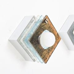 Artemide Multi Colored Square Sconces in Textured Plexiglass after ARTEMIDE Italy 1980s - 1640315
