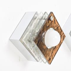 Artemide Multi Colored Square Sconces in Textured Plexiglass after ARTEMIDE Italy 1980s - 1640317