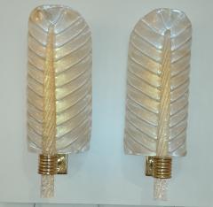 Artisti Barovier Pair of Murano glass leaves sconces in Barovier style - 1119531