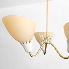 Asea ASEA BRASS 3 ARM CHANDELIER WITH OPALINE GLASS SHADES  - 1178763