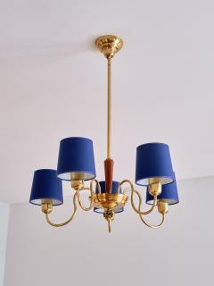 Asea ASEA Five Arm Chandelier in Brass with Blue Shades Sweden 1940s - 2075918