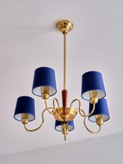 Asea ASEA Five Arm Chandelier in Brass with Blue Shades Sweden 1940s - 2075920