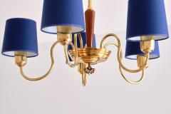 Asea ASEA Five Arm Chandelier in Brass with Blue Shades Sweden 1940s - 2075921
