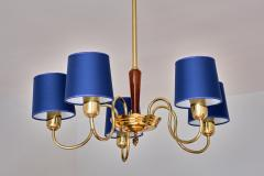 Asea ASEA Five Arm Chandelier in Brass with Blue Shades Sweden 1940s - 2075922