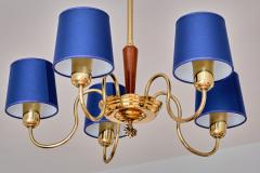 Asea ASEA Five Arm Chandelier in Brass with Blue Shades Sweden 1940s - 2075923