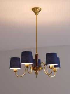 Asea ASEA Five Arm Chandelier in Brass with Blue Shades Sweden 1940s - 2075924