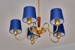Asea ASEA Five Arm Chandelier in Brass with Blue Shades Sweden 1940s - 2075925