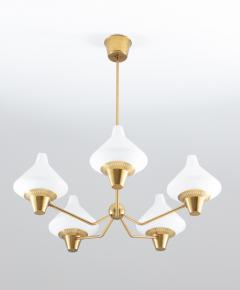 Asea Swedish Midcentury Chandelier in Brass and Opaline Glass by ASEA - 1247509