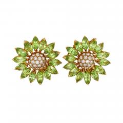 Asprey Asprey Peridot Diamond Flower Clip Earrings - 1273303