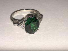 Asprey Asprey Tourmaline triangular Diamond Platinum Ring - 1372857
